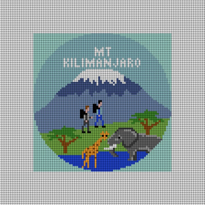 Mount Kilimanjaro Needlepoint Ornament Canvas