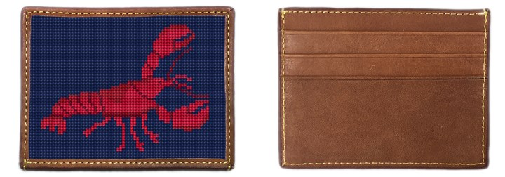 Lobster Needlepoint Card Wallet