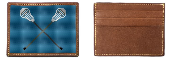 Lacrosse Sticks Needlepoint Card Wallet Canvas