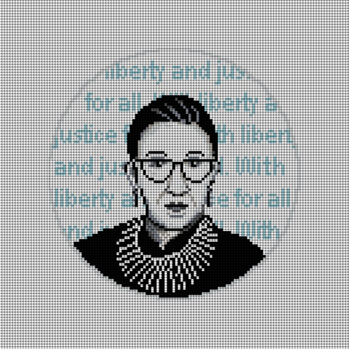 Ruth Bader Ginsburg Needlepoint Ornament Canvas