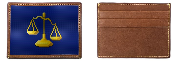 Scales of Justice Needlepoint Card Wallet