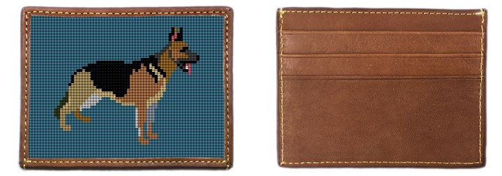 German Shepherd Needlepoint Card Wallet