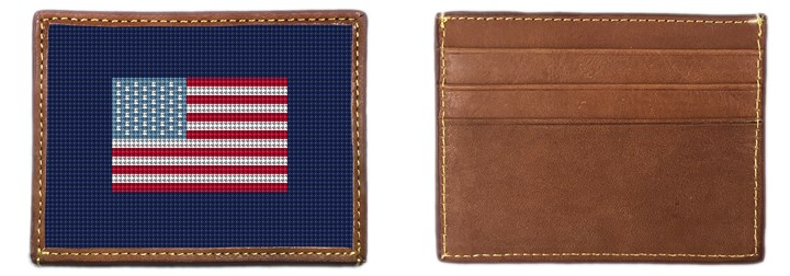 US Flag Needlepoint Card Wallet Canvas