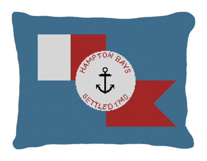Hampton Bays Flag Needlepoint Pillow Canvas