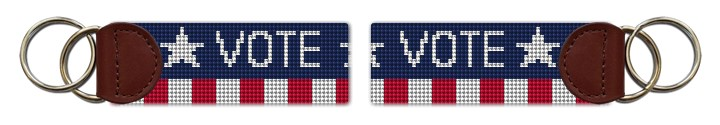 Vote Red White and Blue Needlepoint Key Fob