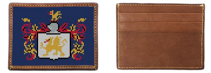 Custom Family Crest Needlepoint Card Wallet Canvas