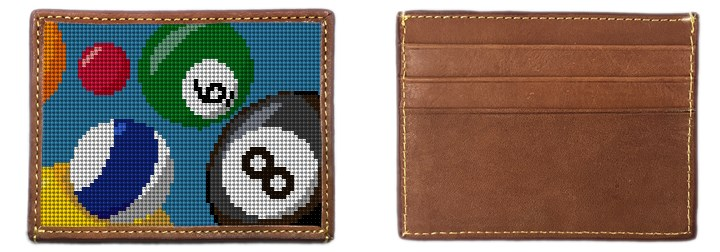Billiards Needlepoint Card Wallet Canvas