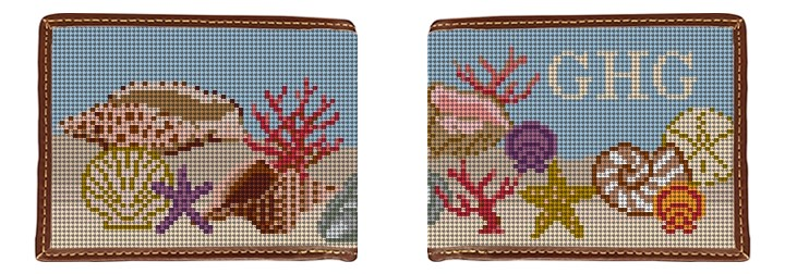 Seashell Needlepoint Wallet Canvas