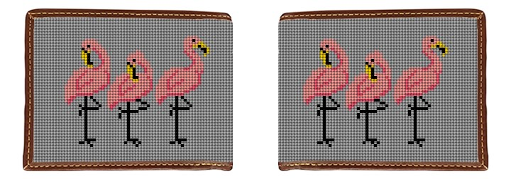 Fancy Flamingos Needlepoint Wallet Canvas
