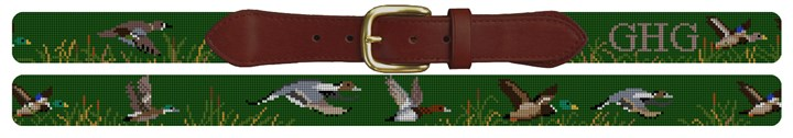 Waterfowl Hunting Needlepoint Belt