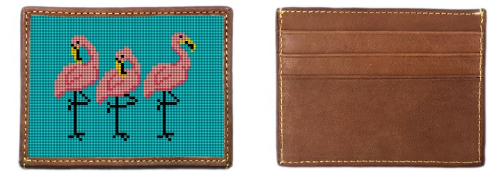 Fancy Flamingos Needlepoint Card Wallet Canvas