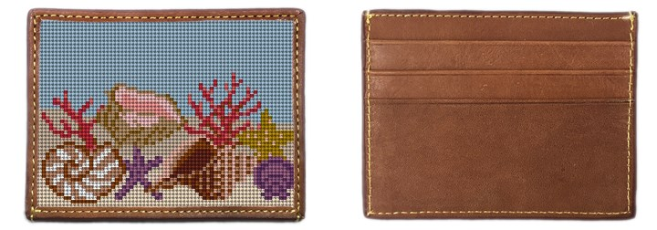Seashell Needlepoint Card Wallet Canvas