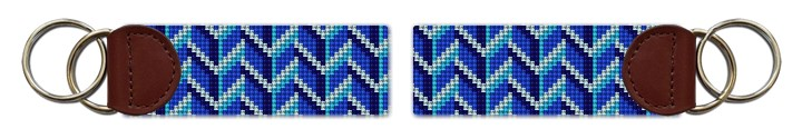 Bold Blues Needlepoint Key Fob