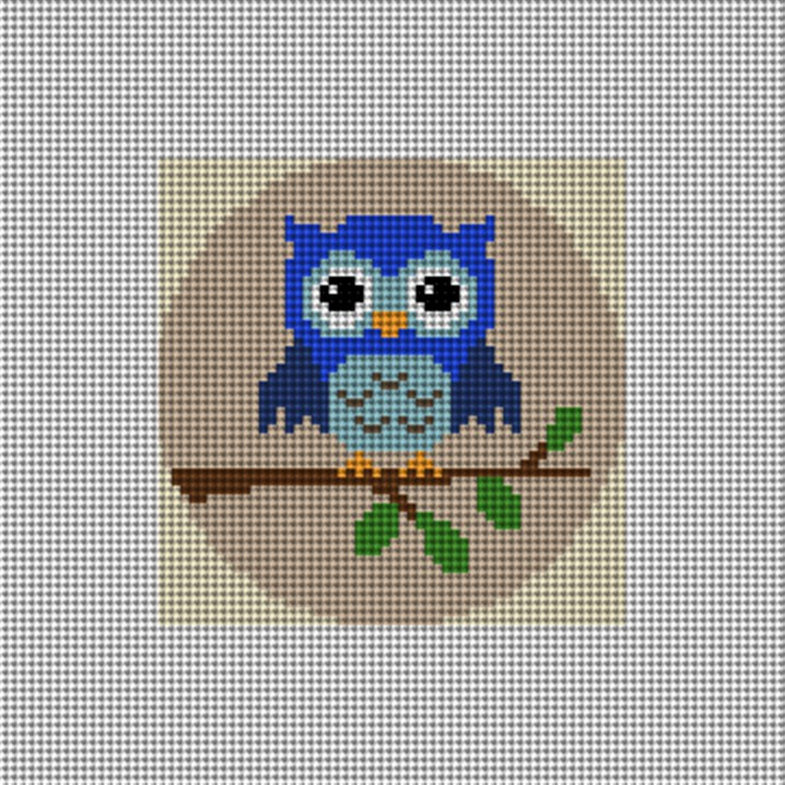 Wise Owl Needlepoint Ornament Canvas