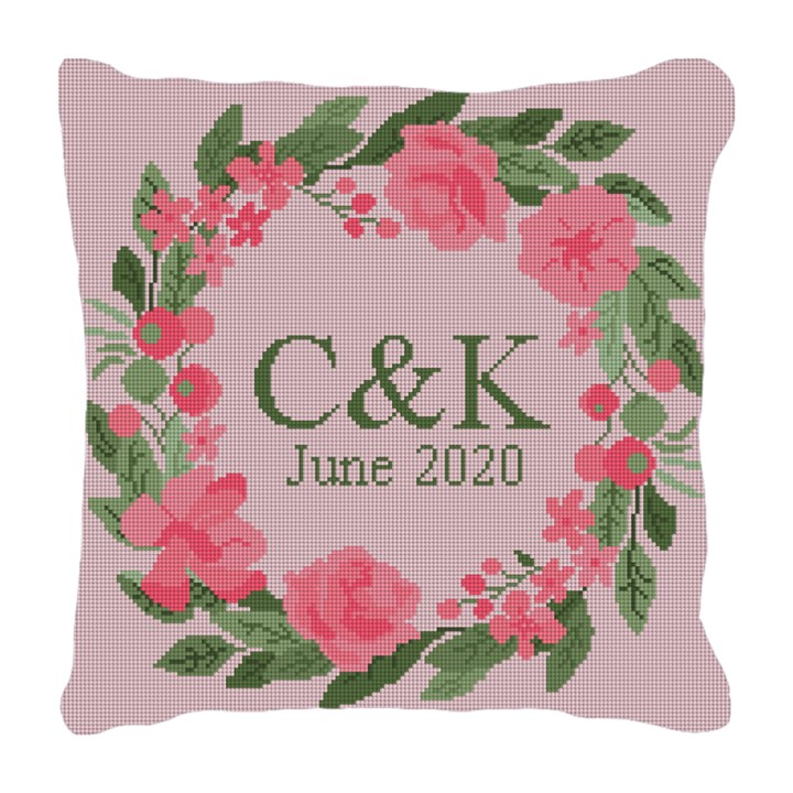 Pink Blush Wedding Needlepoint Pillow