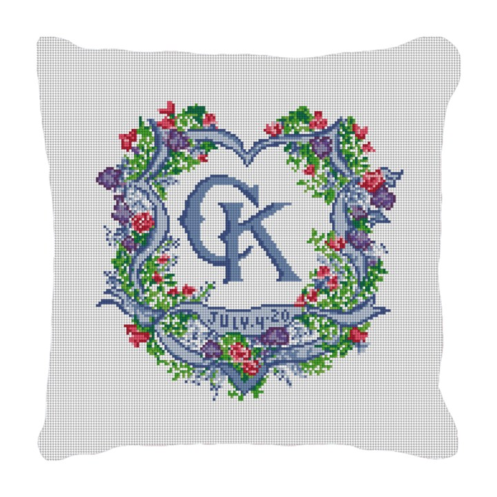 Ribbon Crest Wedding Needlepoint Pillow Canvas