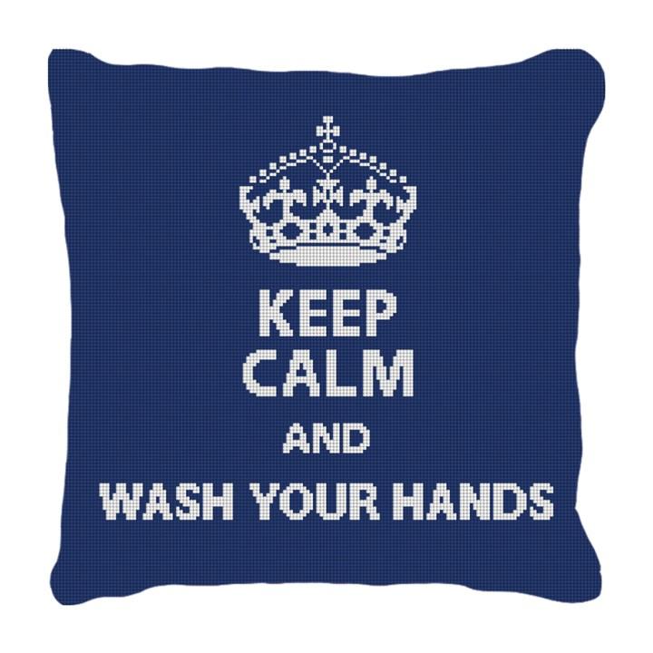Keep Calm Wash Hands Needlepoint Pillow