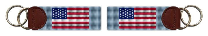 USA Flag Needlepoint Key Fob