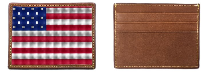 USA Flag Needlepoint Card Wallet Canvas