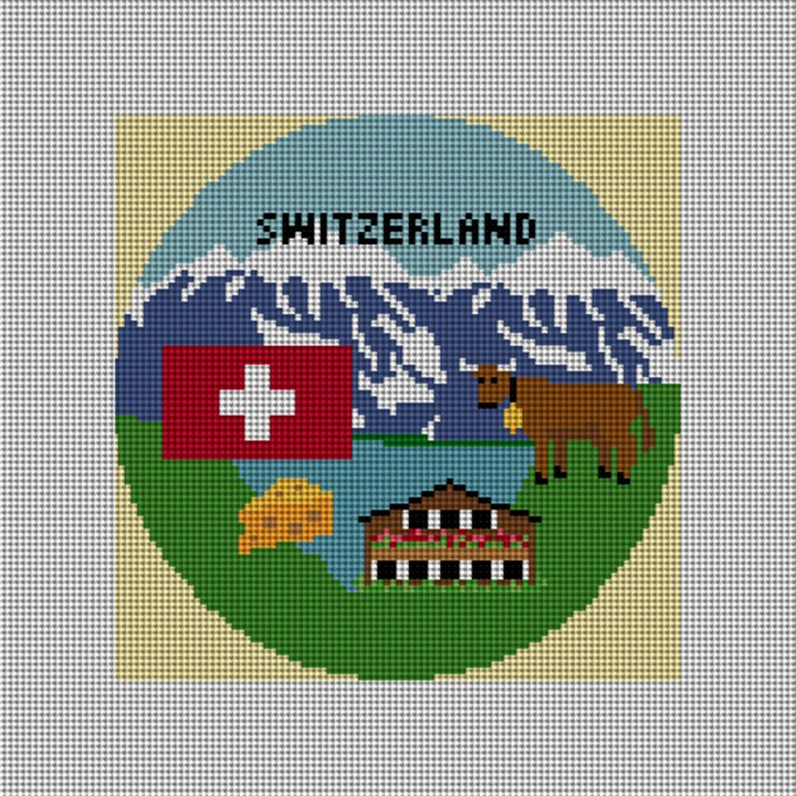Switzerland Needlepoint Ornament Canvas