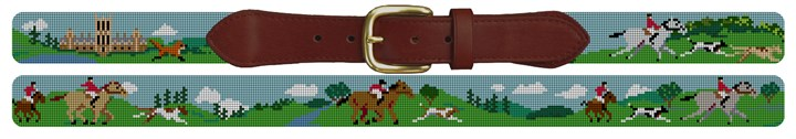 Fox Hunting Needlepoint Belt