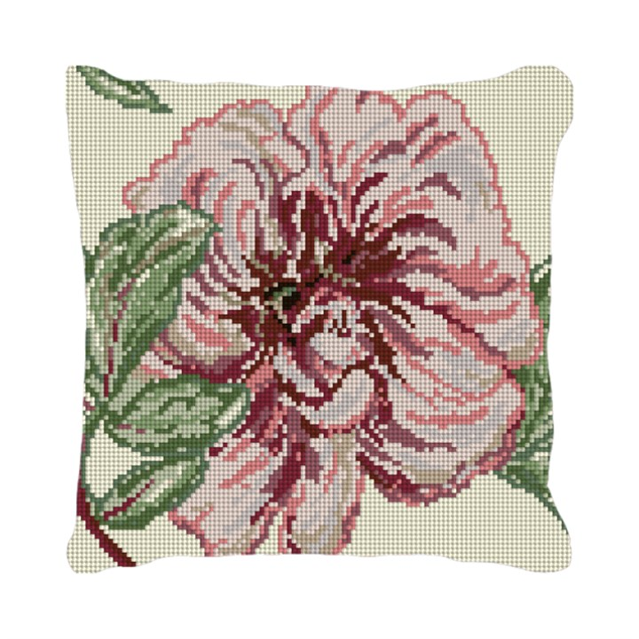Delicate Peony Needlepoint Pillow Canvas