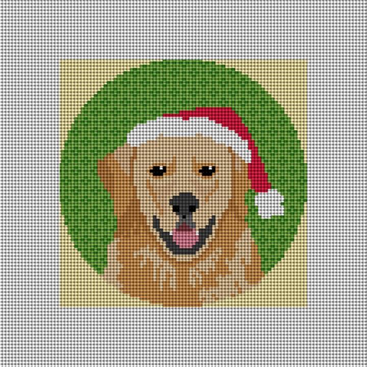 Golden Retriever Needlepoint Ornament Canvas