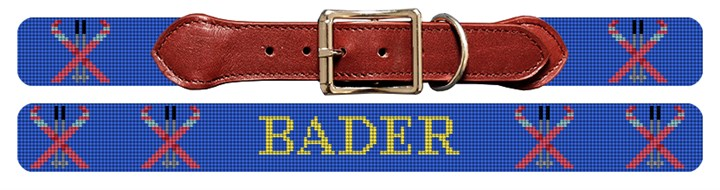 Skiing Needlepoint Dog Collar Canvas