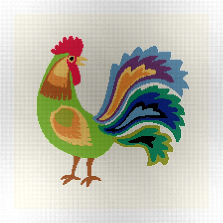 Green Rooster Needlepoint Pillow Canvas