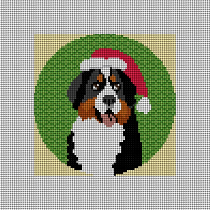 Bernese Mountain Dog Needlepoint Ornament Canvas