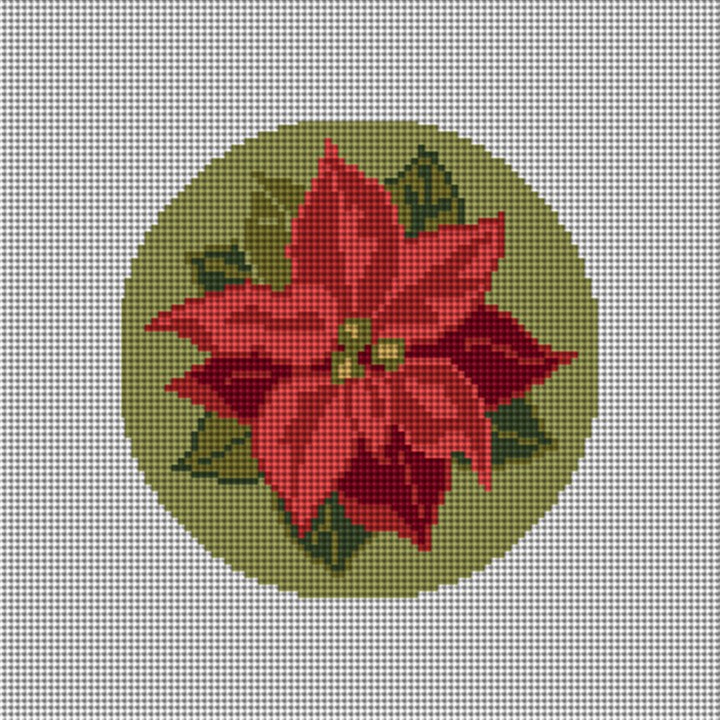 Poinsettia Needlepoint Ornament Canvas
