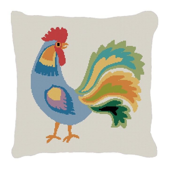 Blue Rooster Needlepoint Pillow Canvas