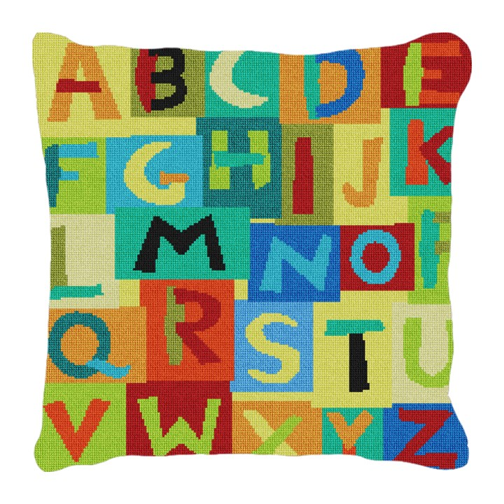 Colorful Alphabet Needlepoint Pillow Canvas