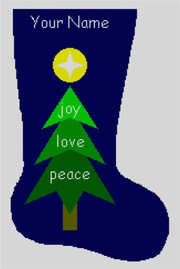 Needlepoint Christmas Stocking Canvas - Tree