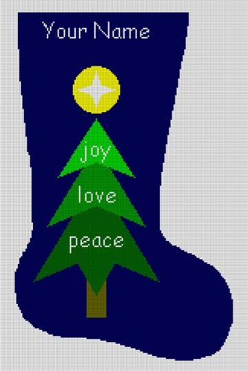 Joy Love Peace Needlepoint Stocking Canvas