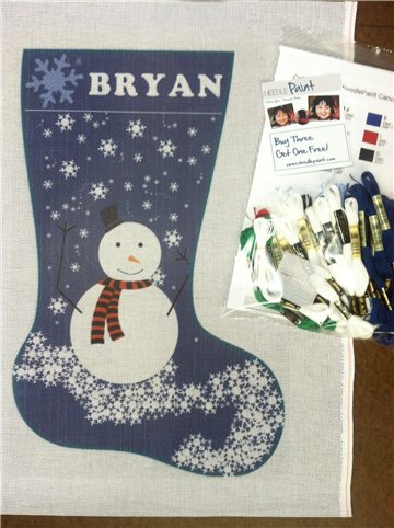 Blue Snowman Needlepoint Kit